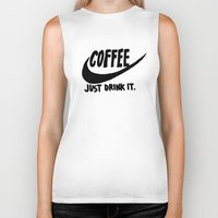 coffee Biker Tanks featuring Coffee by Hand Drawn Type