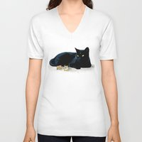 luna V-neck T-shirts featuring Luna by artbyteesa