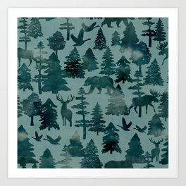 The Wild North, Wildlife, Blue Silhouette Forest and Animal Print Art Print