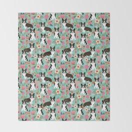 Brindle Cardigan Corgi Florals - cute corgi design, corgi owners will love this mint florals corgi Throw Blanket