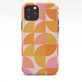 Mid Century Mod Geometry in Pink and Orange iPhone Case