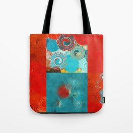 Swirly Red and Turquoise Mosaic Tote Bag