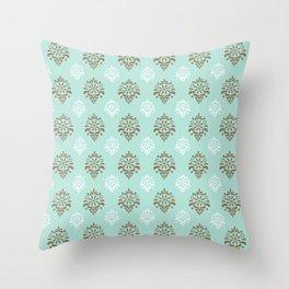 Aqua Mint Damask Pattern Throw Pillow
