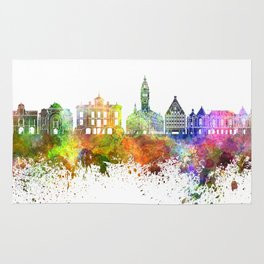Lille skyline in watercolor background Rug