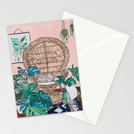 Napping Tabby Cat in Cane Peacock Chair in Tropical Jungle Room Stationery Cards