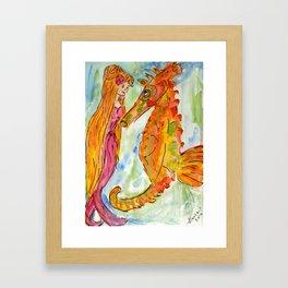 Sarah Mermaid and Kenneth Seahorse Framed Art Print