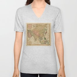 Map of Asia by Robert Laurie and James Whittle (1799) Unisex V-Neck