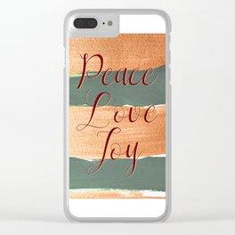 Peace Love Joy #holidays #Christmas Clear iPhone Case
