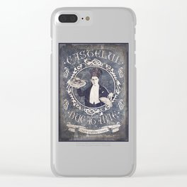 """Chef Dracula's Restaurant: """"Every BITE Guaranteed to ENTHRALL"""" (Old Metal Sign) Clear iPhone Case"""