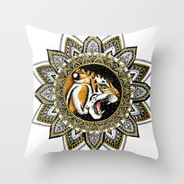Black and Gold Roaring Tiger Mandala Throw Pillow
