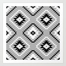 Aztec Style Motif Pattern Monochrome Art Print