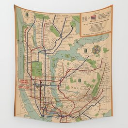 New York City Metro Subway System Map 1954 Wall Tapestry