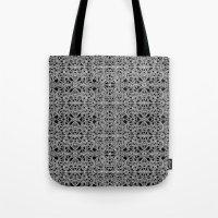 cyberpunk Tote Bags featuring Cyberpunk Silver Print Pattern  by DFLC Prints