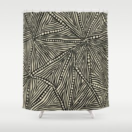 Black and Ivory Triangles Shower Curtain
