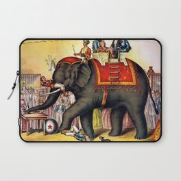 1874 Elephant Performing Circus Advertisement Poster Laptop Sleeve