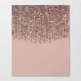 Blush Pink Rose Gold Bronze Cascading Glitter Canvas Print