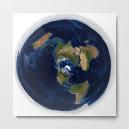 America-Centric, Azimuthal Equidistant, Flat Earth (FE) Map, White Series 01 Metal Print