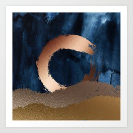 Navy Blue, Gold And Copper Abstract Art Art Print