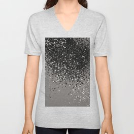 Silver Gray Glitter #1 #shiny #decor #art #society6 Unisex V-Neck
