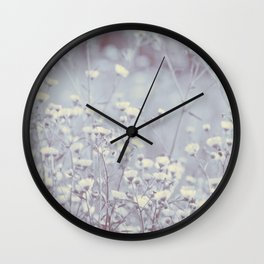 Wild Abandon -- Dreamy Fleabane Daisies in Lavender Gray Mist Wall Clock