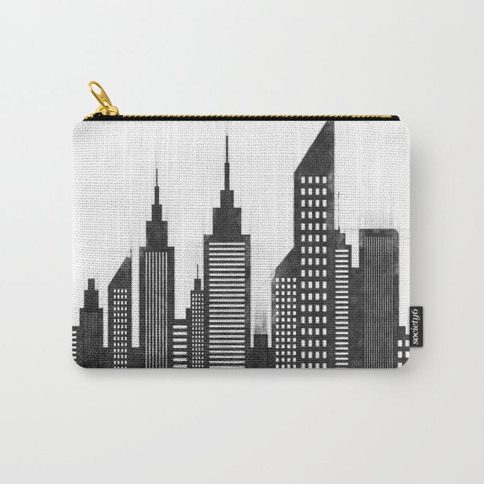 Modern City Buildings And Skyscrapers Sketch, New York Skyline, Wall Art  Poster Decor, New York City Carry,All Pouch by radub85