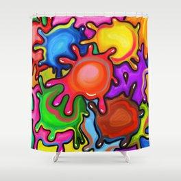 Vibrant Paint Splats Shower Curtain