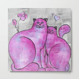Pink Cats In Love Original Painting Metal Print