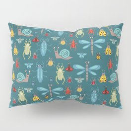 Little Bugs and Mini Beasts on Teal Pillow Sham