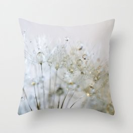 Gold and Silver Dandelion Throw Pillow