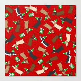 Merry Dachshunds Canvas Print
