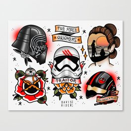 Force Awakens Tattoo Flash sheet Canvas Print
