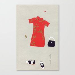 Chinese Silk Dress Outfit Canvas Print