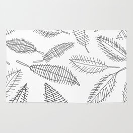 Feather Leaves in Black White Rug