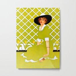 """C Coles Phillips 'Fadeaway Girl' """"In the Garden"""" Metal Print"""