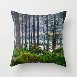 Flooding into the forest Throw Pillow