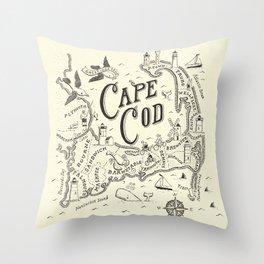 Cape Cod Map Throw Pillow