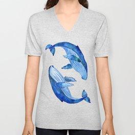 Humpback Whale | Ocean Blue Unisex V-Neck