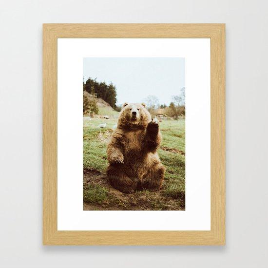 Hi Bear Framed Art Print by beccatapert   Society6