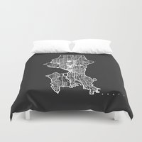 seattle Duvet Covers featuring SEATTLE  by Nicksman