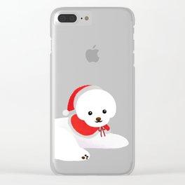 Christmas bichon frise 2 Clear iPhone Case