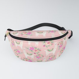 Watercolor llama with florals Fanny Pack