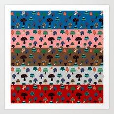 Mushroom patchwork Art Print