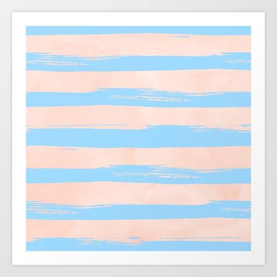 Trendy Stripes - Sweet Peach Coral on Blue Raspberry Art Print