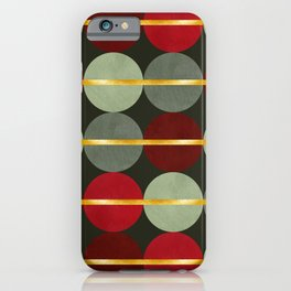 Mid-century Modern Abstract Geometric Christmas Balls / Xmas Decoration Pattern, Festive Colors and Gold / Golden Texture iPhone Case