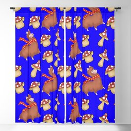 Cute fluffy llamas with red warm scarves, funny whimsical little mushrooms seamless pattern design Blackout Curtain