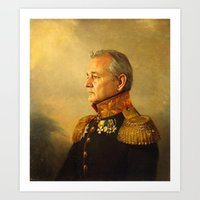 water color Art Prints featuring Bill Murray - replaceface by replaceface