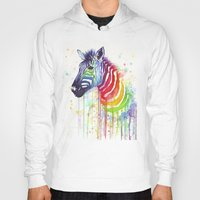 fruit Hoodies featuring Zebra Watercolor Rainbow Painting   Ode to Fruit Stripes by Olechka