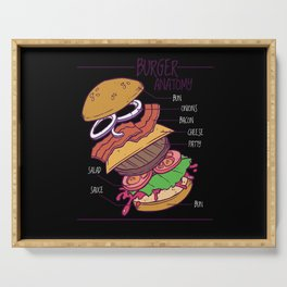 Funny Burger Anatomy ingedients of a burger Serving Tray