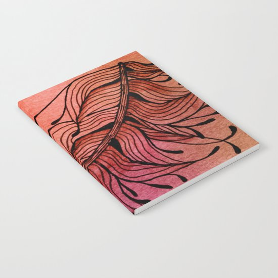 Doodled Autumn Feather 01 Notebook