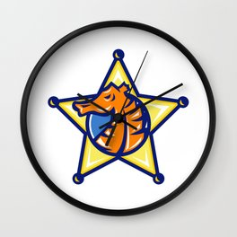 Seahorse Sheriff Star Isolated Wall Clock
